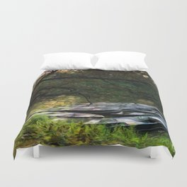 Boats on the Pond at Twilight Duvet Cover