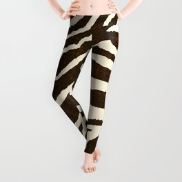 Animal Print Zebra in Winter Brown and Beige Leggings