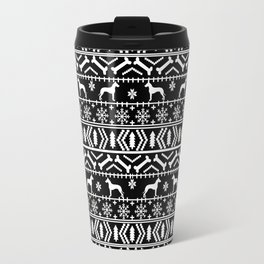 Great Dane fair isle christmas holiday black and white minimal pattern gifts for dog lover Travel Mug