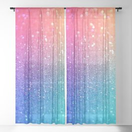 Glitter Rainbow Mermaid Sparkle Ombre Sheer Curtain
