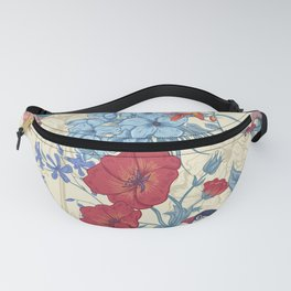 Vintage floral with roses and birds background Fanny Pack