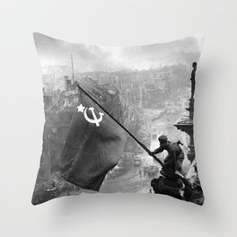 Raising a Flag over the Reichstag Throw Pillow