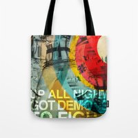 inner demons Tote Bags featuring DEMONS by Leonardo Tezcucano