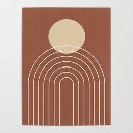 Mid Century Modern Geometric 3 (Terrocatta and beige) Poster