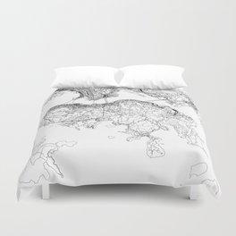 Hong Kong White Map Duvet Cover