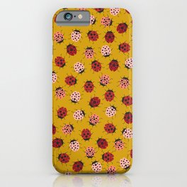 All Over Modern Ladybugs on Mustard Yellow Background iPhone Case