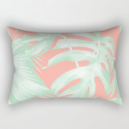 Island Love Coral Pink + Light Green Rectangular Pillow