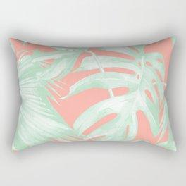 Island Love Coral Pink + Light Green Rectangular Pillow