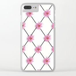 Pink Daisy + Diamonds Clear iPhone Case