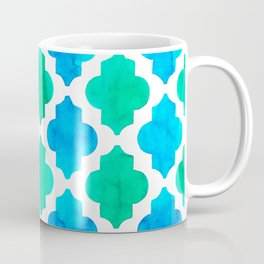 Quatrefoil pattern in blue and green Coffee Mug