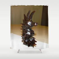 sea horse Shower Curtains featuring Sea Horse by Lili Lash-Rosenberg