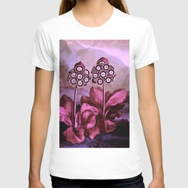 Dark Pink Auriculas : Temple of Flora Art Print T-shirt
