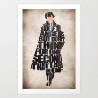 sherlock holmes Art Prints featuring Sherlock Holmes by Ayse Deniz