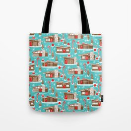 Mid Century Modern Gingerbread Houses Tote Bag