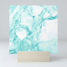 Teal Mermaid Glitter Marble Mini Art Print