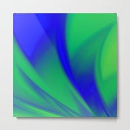 Blue and Green  Flush Fractal Metal Print