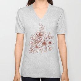Line Flower Bouquet Unisex V-Neck