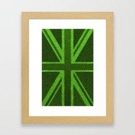 Grass Britain / 3D render of British flag grown from grass Framed Art Print