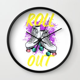 Roller Skater Gift Product Roll Out Derby Girl Skating Skater Design Wall Clock