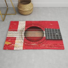 Old Vintage Acoustic Guitar with Danish Flag Rug