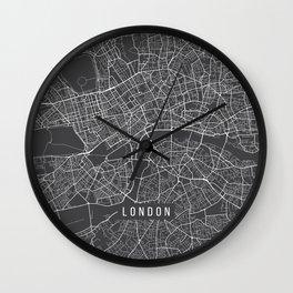 London Map, England - Gray Wall Clock