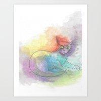 Watercolour Cat #1 Art Print