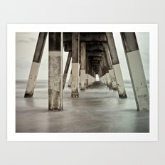 Long Exposure 2 Johnny Mercer's Pier Wrightsville Beach, NC Art Print