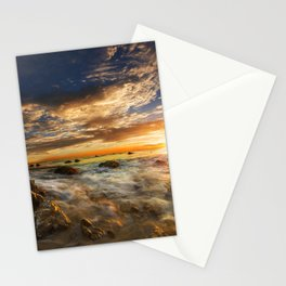 Images USA El Matador State Beach Malibu Ocean Nature Sky sunrise and sunset landscape photography Coast Stones Clouds Scenery Sunrises and sunsets stone Stationery Cards