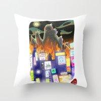godzilla Throw Pillows featuring Godzilla by David Pavon