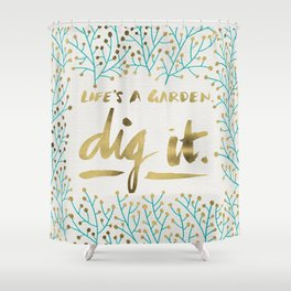 Dig It – Gold & Turquoise Shower Curtain