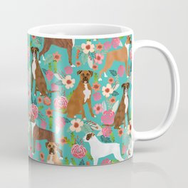 Boxer dog breed florals flower dog pattern gifts for pure breed lovers boxers Coffee Mug