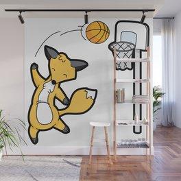 Basketball Playing Happy Fox Wall Mural
