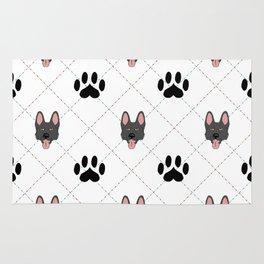 Black German Shepherd Paw Print Pattern Rug