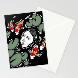 koi fish lake Stationery Cards