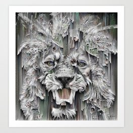Lion in the night Art Print
