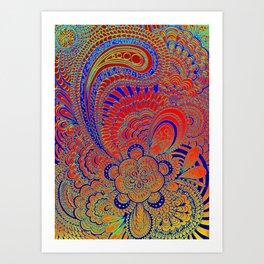 Kukat blue/orange Art Print