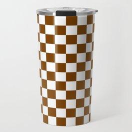 White and Chocolate Brown Checkerboard Travel Mug