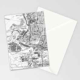 Vintage Map of Oakland California (1959) BW Stationery Cards