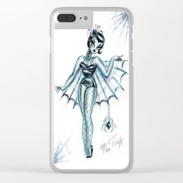 Black Widow Burlesque Doll Clear iPhone Case