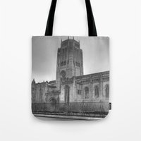 liverpool Tote Bags featuring Liverpool Cathedral by Abi Booth