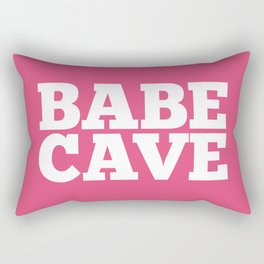 Babe Cave - Pink and White Rectangular Pillow