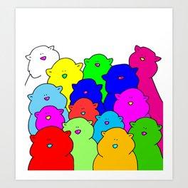 Rainbow cats Art Print
