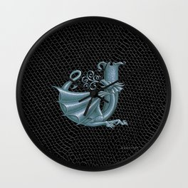 """Dragon Letter J, from """"Dracoserific"""", a font full of Dragons Wall Clock"""