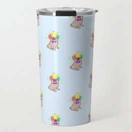 Pug dog in a clown costume pattern Travel Mug
