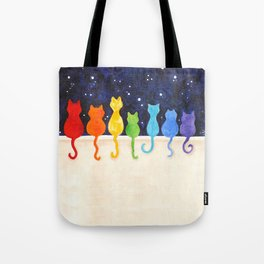Catch A Rainbow - Cats at Night Tote Bag