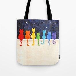 Rainbow Cats at Night Tote Bag