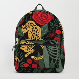 Exotic Jungle Leopard Wild Cat, Red Roses & Wilderness Backpack