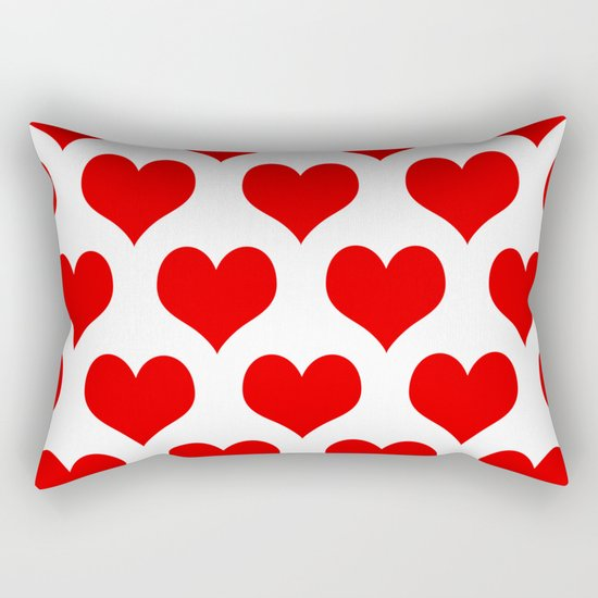 Holidaze Love Hearts Red Rectangular Pillow