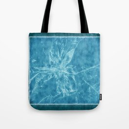 Pale Yellow Poinsettia 1 Outlined Blue Tote Bag