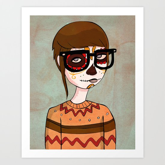 Day of the Dead Hipster Art Print